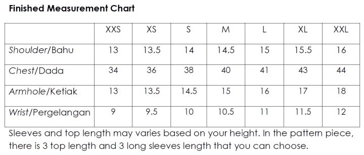 violet top measurement chart